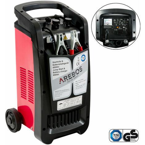 Arebos Cargador de batería de arranque KFZ BOOSTER 800 Ah Cargador de batería 12V 24V Vehículo de pasajeros - negro/roja