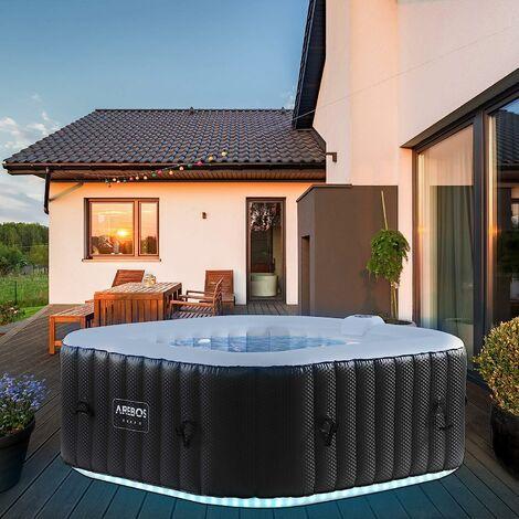 AREBOS Carré gonflable de massage bien-être de piscine de spa extérieur avec LED