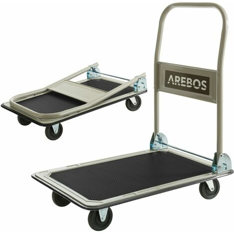 AREBOS Carretilla Carro plataforma de transporte 150 kg - negro / crema