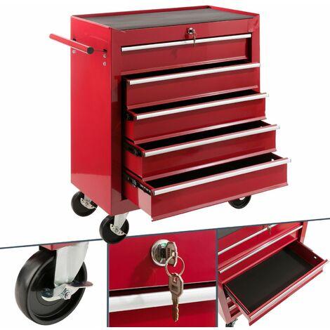 Arebos Carro de herramientas 5 cajones rojo - Carro de Taller