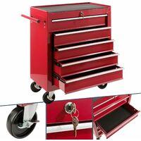 Arebos Carro de herramientas 5 cajones rojo - Carro de Taller 4a27c4c22c60