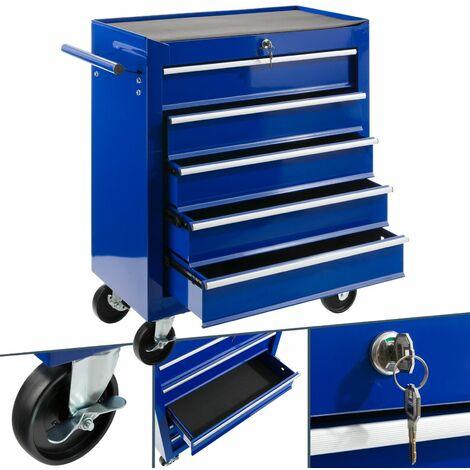 Arebos Carro de Taller caja de Herramientas 5 cajones Azul 087485bc7ee9