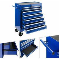 Arebos Carro de Taller caja de Herramientas 7 cajones Azul