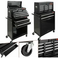Arebos Carro para herramientas con 9 compartimentos Negro