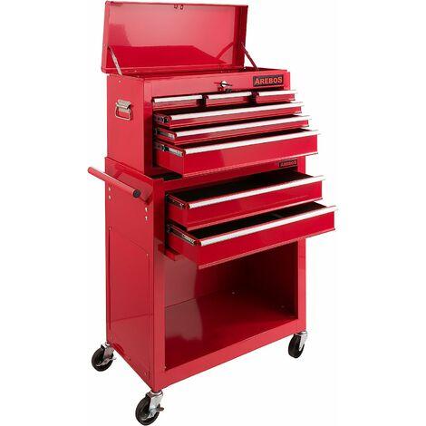 AREBOS Chariot à outils Servante d'atelier Rouge Coffre Malle Rangement Amovible - Rouge