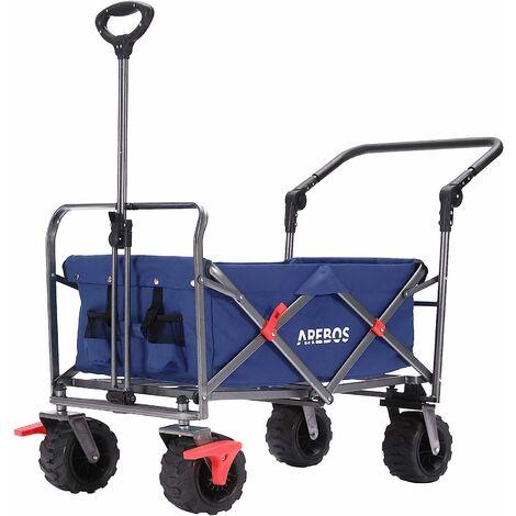 AREBOS Chariot de Jardin 100 kg, Chariot de Transport Pliable, Remorque à Main, Bleu - Bleu