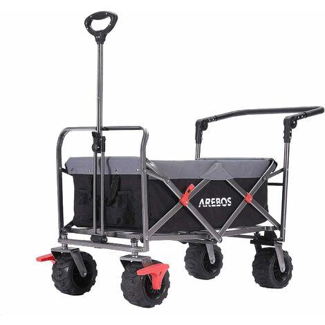 AREBOS Chariot de jardin pliable, Chariot de transport à main, Avec barre de poussée- Noir - Noir/Gris