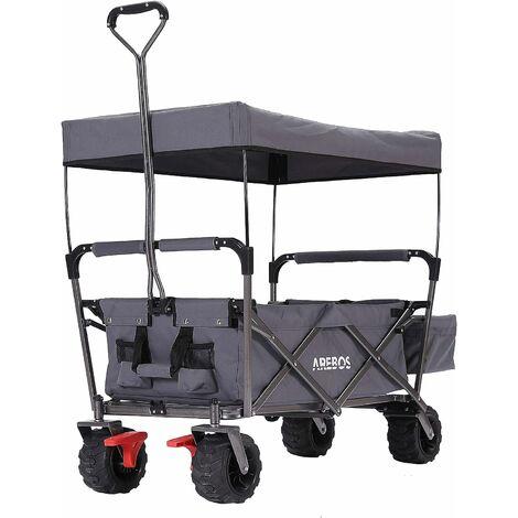 AREBOS Chariot de jardin pliable, Chariot de transport à main, Avec barre de poussée, Pliable, Gris - Gris