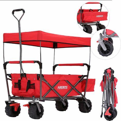AREBOS Chariot de jardin pliable, Chariot de transport à main, Avec barre de poussée, Pliable, Rouge - Rouge
