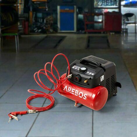 AREBOS Compresor De Aire Comprimido 6L 1200W 13 Piezas + Manguera Espiral