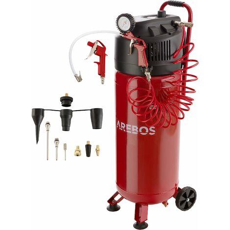 AREBOS Compresseur d'Air 50 Litres Compresseur Industriel 10 bar Debout 97 dB - rouge