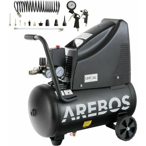 Arebos Compresseur d'air avec cuve sous pression de 1100 W et de 24 L sans huile - noir