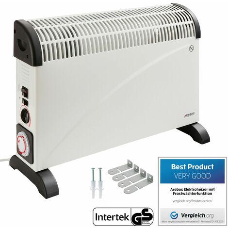 Arebos Convecteur avec thermostat, minuteur et turbo 2000 W - blanc