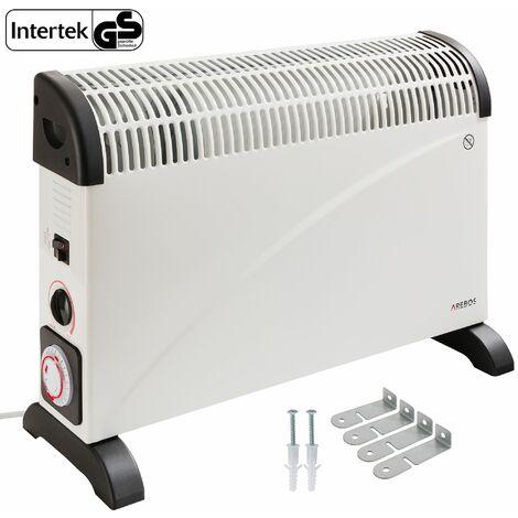 Arebos Convector 2000 W con termostato y temporizador - Calefactor Calentador