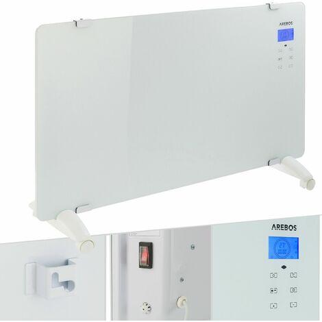 Arebos Convector de vidrio Radiador de cristal Calentador 2000W blanco