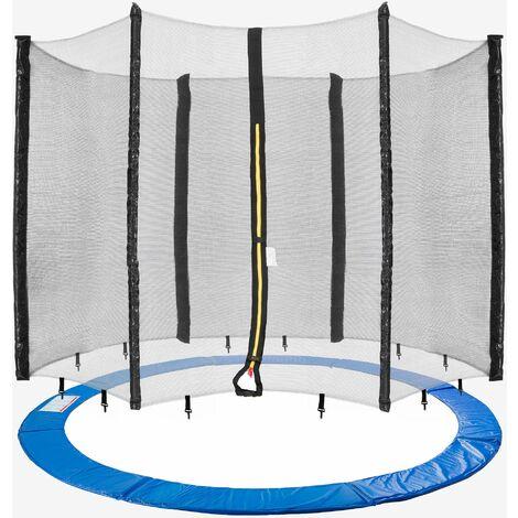 AREBOS Coussin de Protection pour Trampoline 305 cm + Filet pour 6 tiges - Bleu