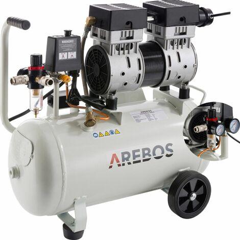 Arebos Druckluft Kompressor (24 l, 800 W, 8 bar, 140 l/min) - Luftkompressor - Silber