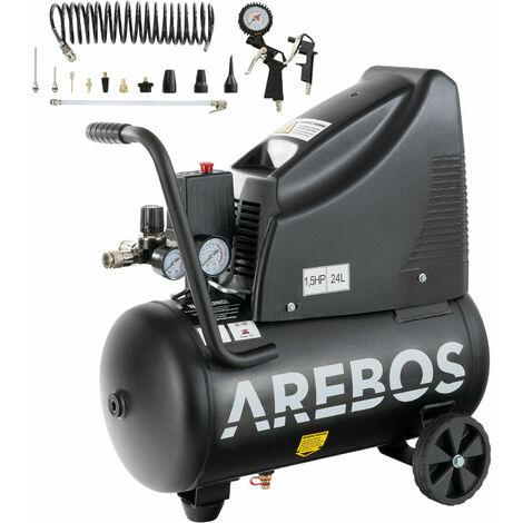 Arebos Druckluftkompressor Luftkompressor ölfrei 24L 1100W - schwarz