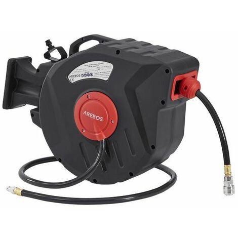 AREBOS Druckluftschlauch Aufroller Automatik Schlauch 20m - Grau