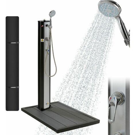 AREBOS Ducha Solar 20L Plata/Negro Con Función De Pulverización y Elemento Suelo - Plata/Negro
