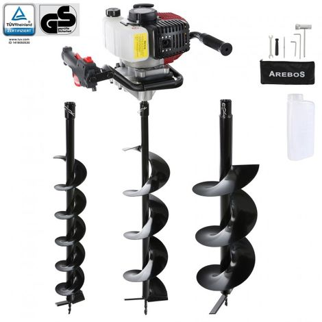 Arebos Earth Auger Earth Drill Post Auger Post Borer Petrol 52cc
