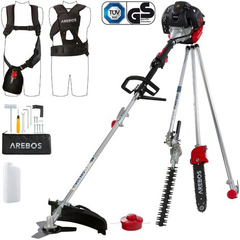 Arebos ECO 5in1 String Trimmer Lawn Trimmer Hedge Trimmer Pole Saw Scythe 52ccm