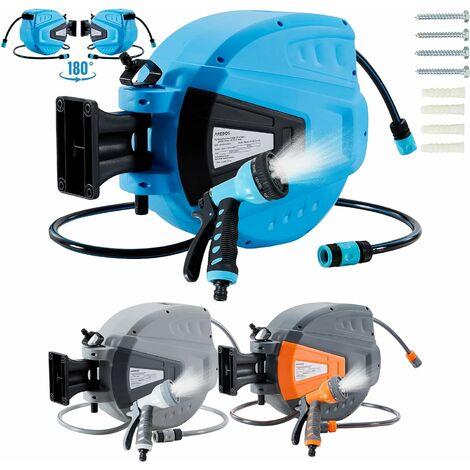 AREBOS enrouleur de tuyau d'arrosage tuyau d'arrosage tuyau d'arrosage bleu 20 m - Bleu