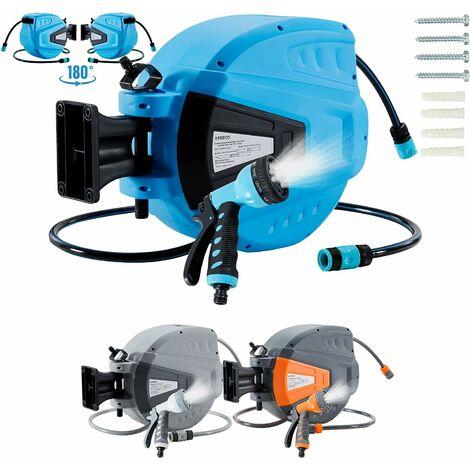 AREBOS Enrouleur Télescopique Automatique de Tuyau d'arrosage avec Tuyau 15 m - Bleu