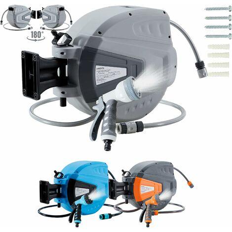 AREBOS Enrouleur Télescopique Automatique de Tuyau d'arrosage avec Tuyau 15 m - Gris