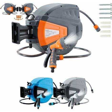 AREBOS Enrouleur Télescopique Automatique de Tuyau d'arrosage avec Tuyau 15 m - Orange