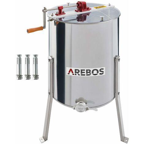 """main image of """"AREBOS Extracteur de Miel Manuel HS 4 Peignes Extracteur de Miel Tangentiel - Argentés"""""""