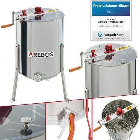AREBOS Extractor de Miel Manual 4 Cuao Panales Acero Inoxidable Miel de Apicultor - Plata