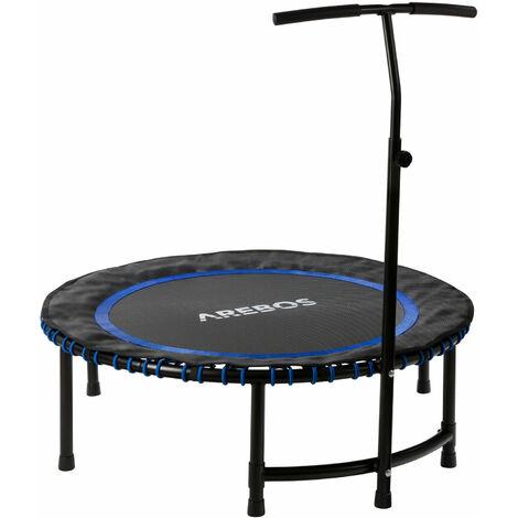 AREBOS Fitness Trampolin Mini Trampolin mit Griff Training Indoor Outdoor Jumper - azul