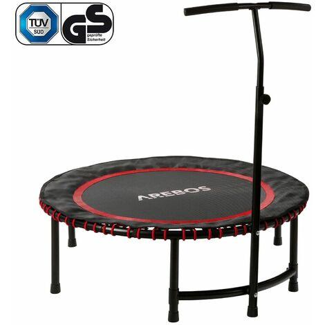 AREBOS Fitness Trampolin Mini Trampolin mit Griff Training Indoor Outdoor Jumper - rojo