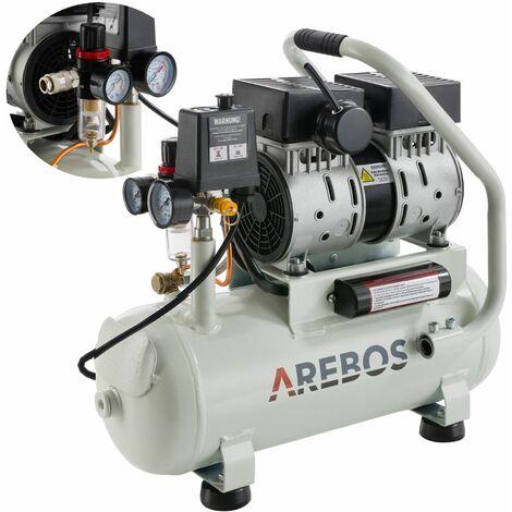 AREBOS Flüsterkompressor (12 l, 500 W, 8 bar, 89 l/min) - Luftkompressor Kompressor - Silber