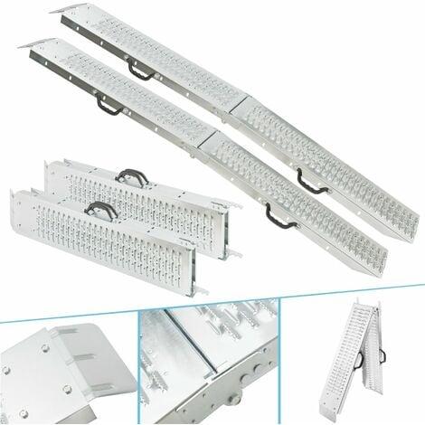 "main image of ""AREBOS Foldable Ramp max. 882 lbs (400 kg) Access Ramp Loading Ramp Folding Platform - silver"""