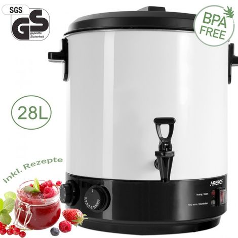 AREBOS Food Preserver Mulled Wine Kettle Warmer Incl Thermostat Timer 1800W 28L