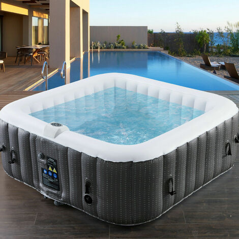 AREBOS In-Outdoor Whirlpool Spa Pool Wellness Heizung Massage Aufblasbar Quadrat