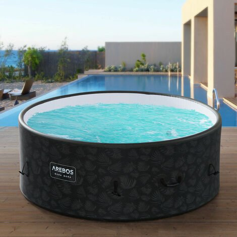 AREBOS In-Outdoor Whirlpool Spa Pool Wellness Heizung Massage Aufblasbar Rund - Anthrazit
