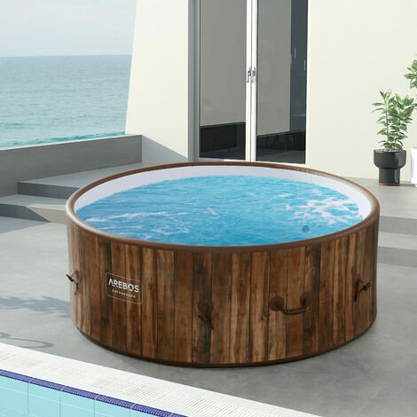 AREBOS In-Outdoor Whirlpool Spa Pool Wellness Heizung Massage Aufblasbar Rund - Holzoptik