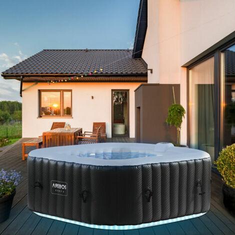 AREBOS In-Outdoor Whirlpool Spa Pool Wellness Massage aufblasbar Quadrat mit LED - schwarz