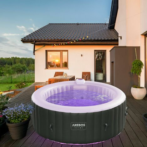 AREBOS In-Outdoor Whirlpool Spa Pool Wellness Massage aufblasbar rund mit LED - Anthrazit