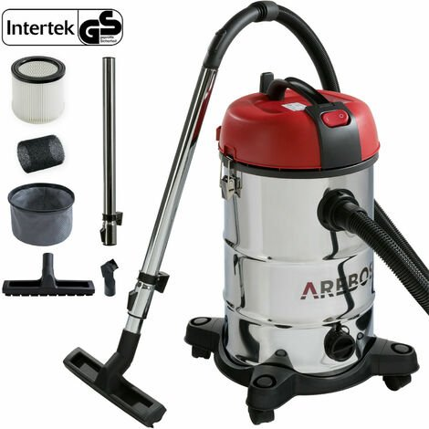 Arebos Industrial Vacuum Cleaner Wet-dry Ash Extractor 1800W 30L Stainless Steel