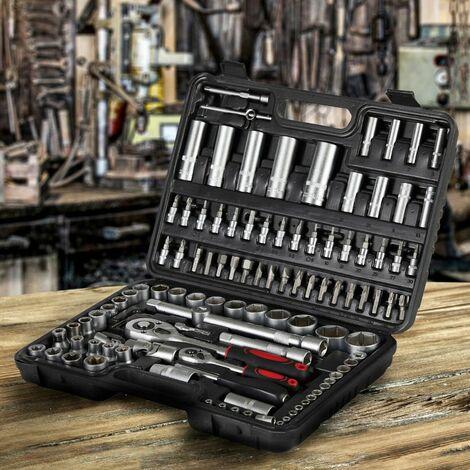 AREBOS Juego de llaves de tubo Caja de herramientas de coche 108 piezas