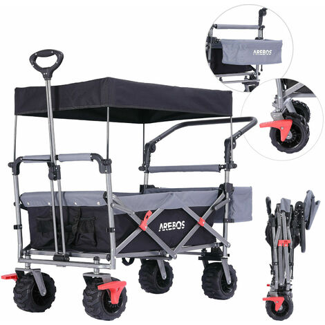 Arebos Luxury outdoor utility wagon with canopy Folding Stroller cart trolley - black