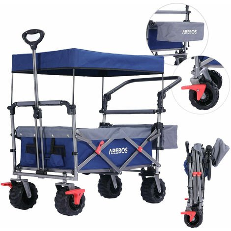 Arebos Luxury outdoor utility wagon with canopy Folding Stroller cart trolley - blue