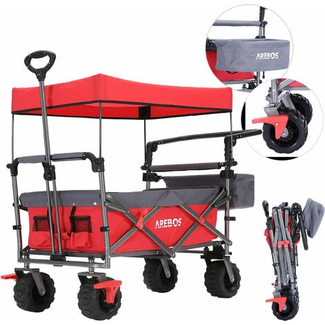 """main image of """"AREBOS Luxury outdoor utility wagon with canopy Folding Stroller cart trolley red - red"""""""