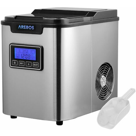 """main image of """"AREBOS Machine à Glaçons en Acier Inoxydable 2,2L LCD Icemaker 12KG/24H"""""""