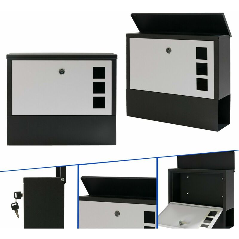 Image of Modern Design Letterbox Graphite Anthracite Wall Mailbox Post Box - Anthracite - Arebos
