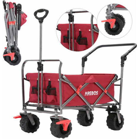 """main image of """"AREBOS Outdoor Utility Wagon with Telescopic Push Bar Collapsible Stroller Cart Red - red"""""""
